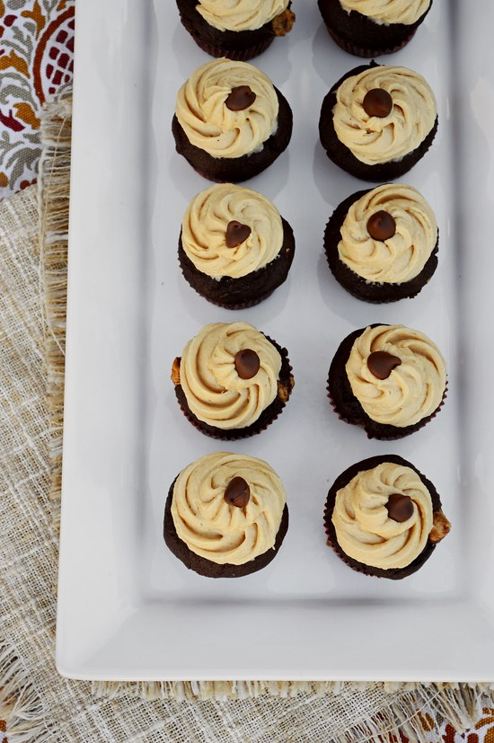 Chocolate Peanut Butter Banana Cupcakes