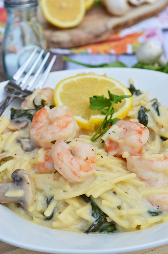 Gluten Free Shrimp and Spinach Pasta