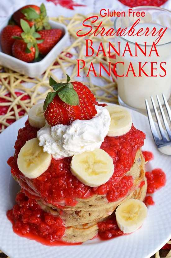 Sweet and beautiful gluten free strawberry banana pancakes with a fresh strawberry puree.