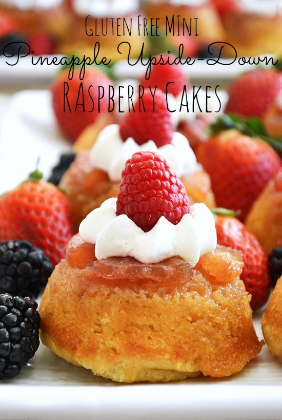 Tender and sweet mini gluten free pineapple upside-down cakes baked with pineapples, caramel sauce, and raspberries for a fresh twist.