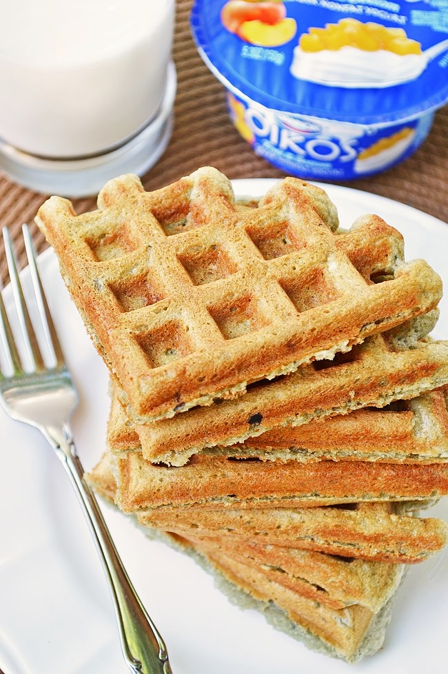 These Gluten Free Greek Yogurt Waffles are a quick and easy breakfast that can be adapted to any flavor profile. Soft, light, and fluffy on the inside with a crisp outer crunch.