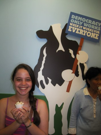 Ice cream samples at the end of the Ben & Jerry's tour!