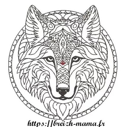 Motif broderie Loup tribal Rework