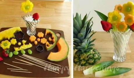 Brochette de fruits en fleurs