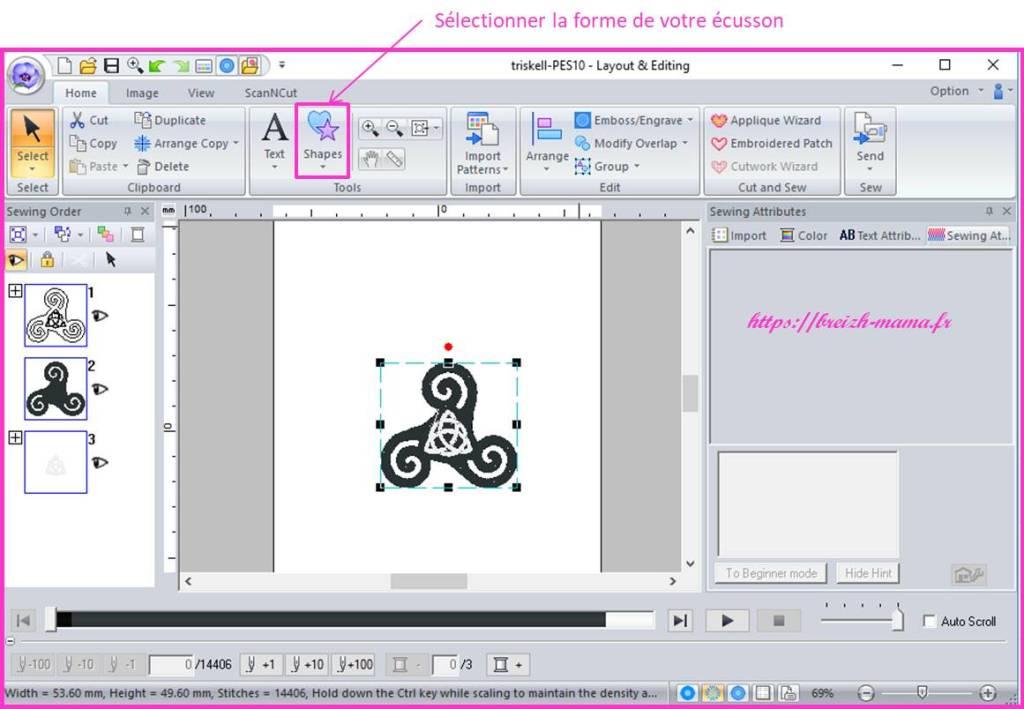 Ouvrir le fichier dans PE design pour créer votre écusson