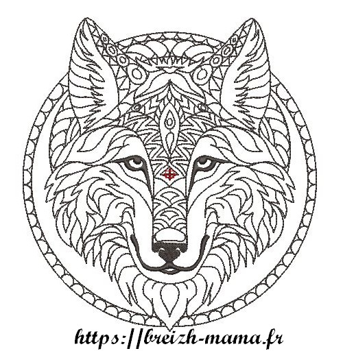 Motif broderie Loup Redwork tribal
