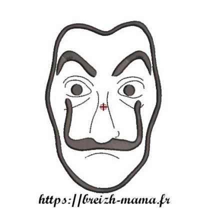 Motif broderie masque Dali