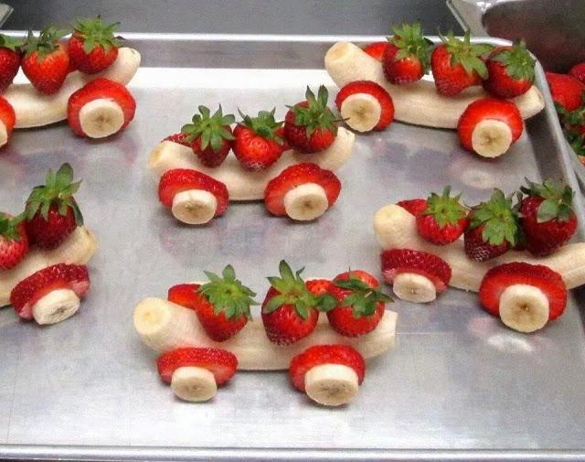 dessert banane fraise