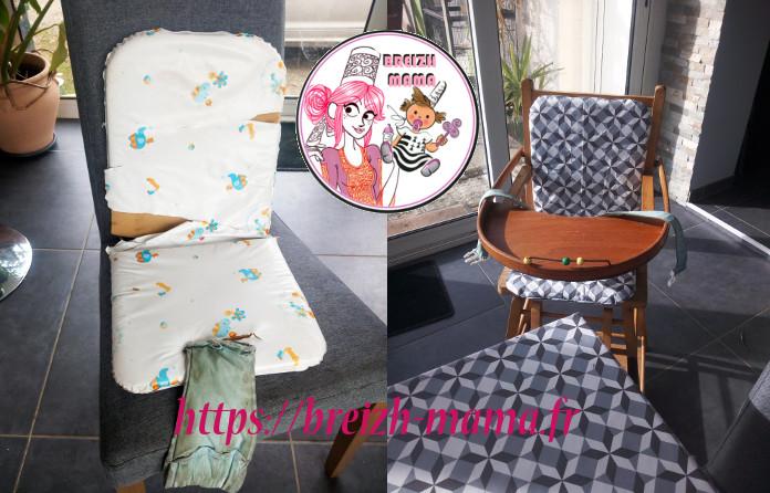 Réfection housse de chaise haute bébé