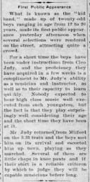 Juniors Band - debut - Jan 2, 1913
