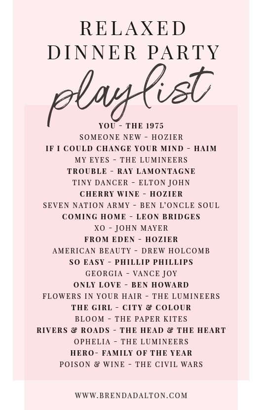 Relaxed Chill Dinner Party Playlist from Spotify - brendadaltoncom | Music