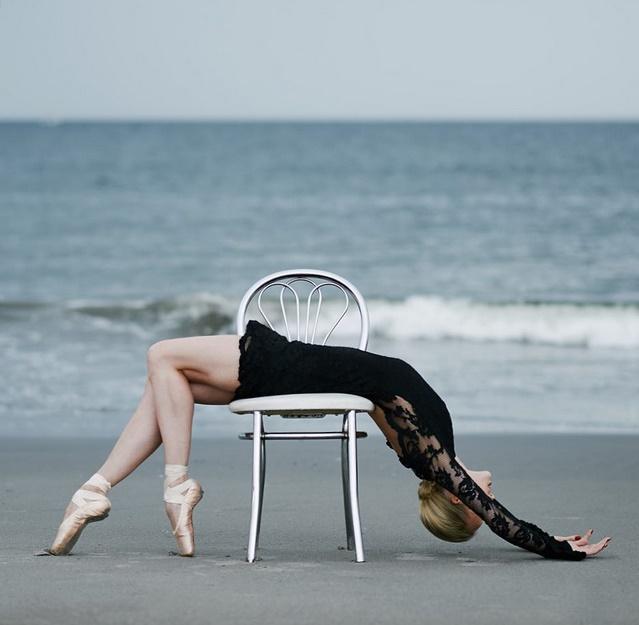 woman on beach ballet dancer