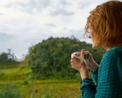 woman drinking coffee nature