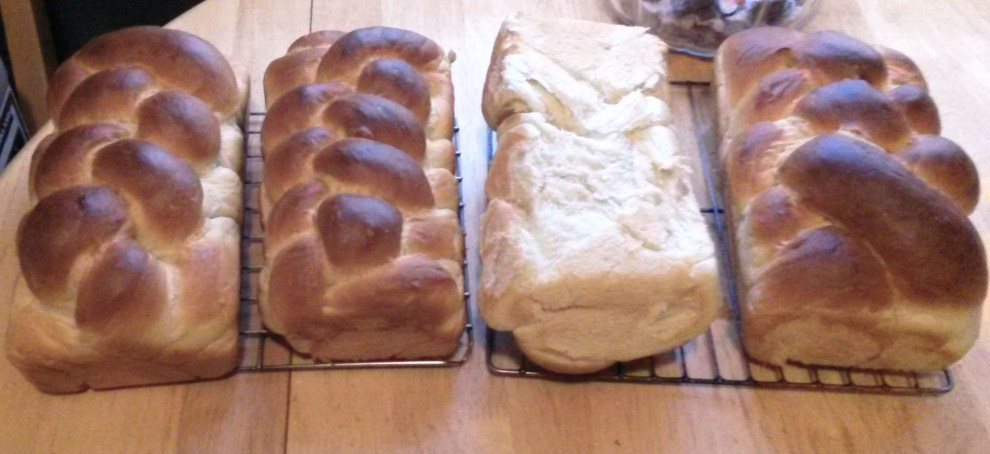 I cut the dough into 6 sections and made 4 loaves.