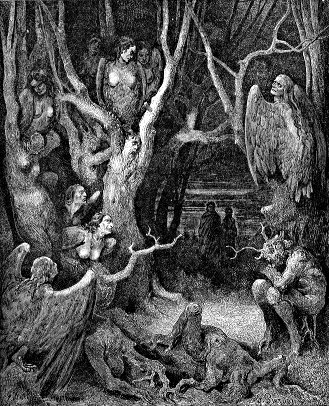 Gustave Doré's 'Harpies in the wood of the suicides' illustration for Dante's Inferno, Canto XIII.