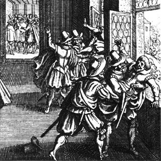 Third Defenestration of Prague, 1618, as imagined in 1662.
