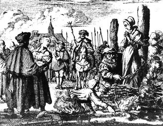 Jan Luyken's depiction of Maria van Beckum and her sister-in-law Ursel, executed for being Anabaptists.