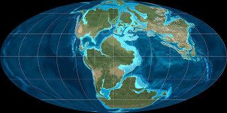 Earth in the Late Jurassic, 150,000,000 years ago; by Ron Blakey, NAU Geology, Colorado Plateau Geosystems, Inc. used w/o permission.