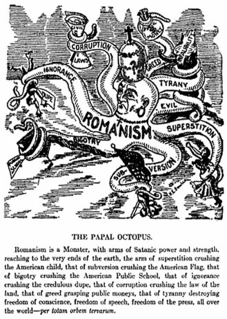 H.E. Fowler's 'Papal Octopus,' featured in Jeremiah J. Crowley's (1913) 'The Pope: Chief of White Slavers High Priest of Intrigue,' p. 430. (1913)