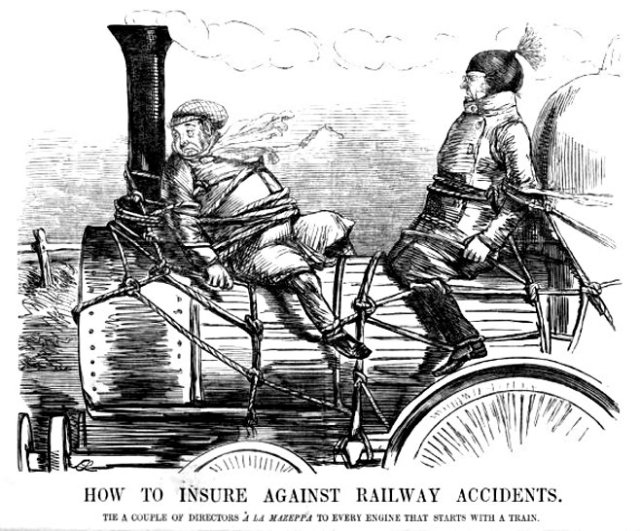 John Leech's cartoon: 'How to Insure Against Railway Accidents. Tie a couple of Directors à la Mazeppa to every engine that starts a train.' Punch (March 26, 1853)