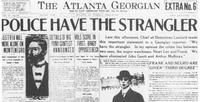 The Atlanta Georgian, April 29, 1913: Blaming Leo Frank for the murder of Mary Phagan.