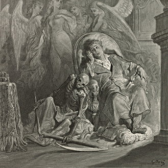 Gustave Dore's illustration for Poe's 'The Raven.' (1884))