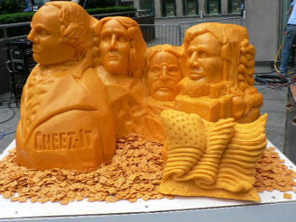 Cheez-It patriotic sculpture: Washington, Jefferson, Roosevelt and Lincoln; carved from 700 pounds of cheddar cheese.