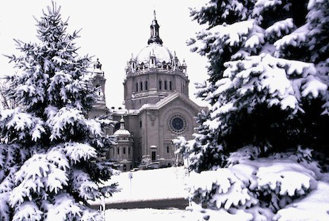 St. Paul Cathedral, Minnesota, in winter.
