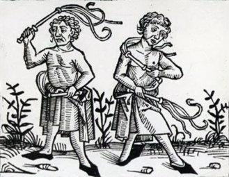 Flagellants, a woodcut. (1493)