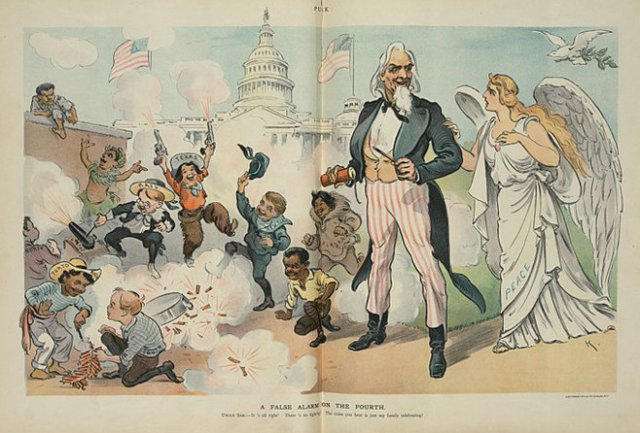 'False Alarm on the Fourth' cartoon for Puck. (1902)
