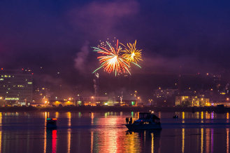 Juneau's harbor: boats and fireworks.