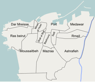 Map of Beirut's districts.