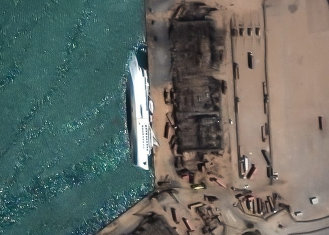 Orient Queen cruise ship, after the Beirut explosion. © European Space imaging