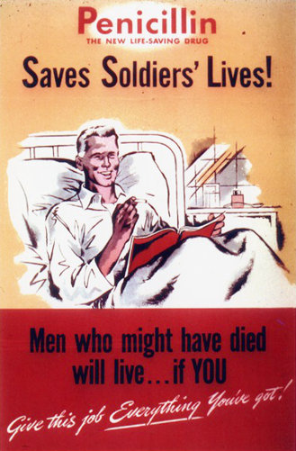 'Penicillin saves lives' World War II poster.