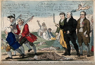 I. Cruikshank's 1808 political cartoon, supporting Jenner, Dinsdale and Rose in the vaccination controversy.