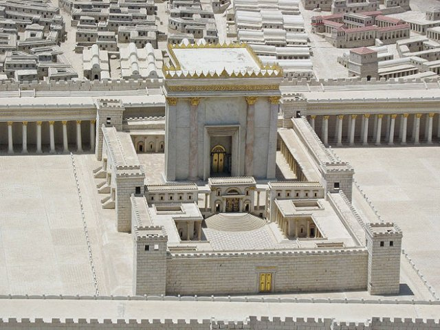 Israel Museum's model of the Second Temple, as renovated by Herod the Great.
