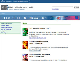 National Institutes of Health Stem Cell Information page.