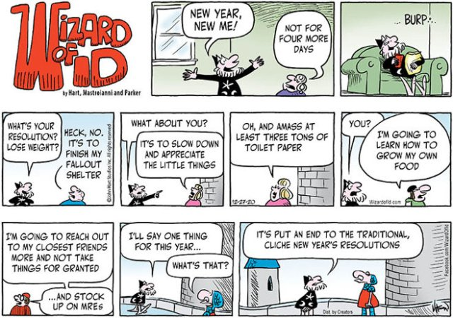 'Wizard of Id' 2020 new year resolutions. (December 27, 2020)