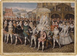 George Vertue's procession portrait of Elizabeth I of England, with her Knights of the Garter. (ca 1601)