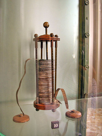 Alessandro Volta's electric battery, displayed in the Tempio Voltiano, Como, Italy.