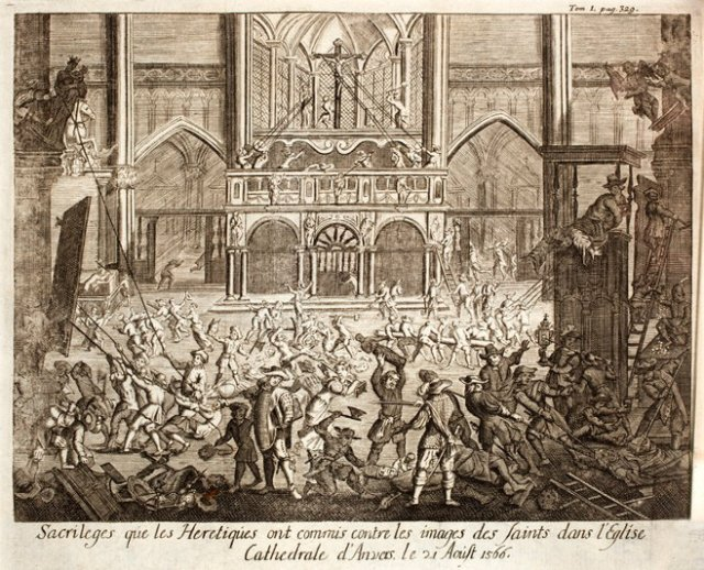 Iconoclastic incident at the Cathedral of Our Lady, Antwerp; August 21, 1566. From 'Histoire de la guerre des Païs-Bas....' (1727)