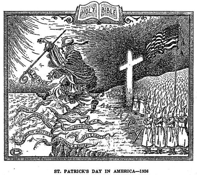 Branford Clarke's cartoon, from page 21 of Alma White's 'Klansmen: Guardians of Liberty;' Zarephath, New Jersey. (1926)