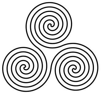 Triple spiral, based on prehistoric motifs found at Newgrange, Ireland.