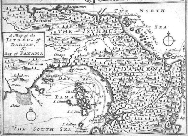 Herman Moll's Isthmus of Darien and Panama map. (1697)