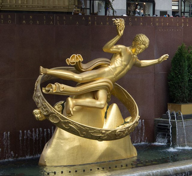 Paul Manship's Prometheus sculpture for Rockefeller Center (New York City) lower plaza. (1934) Photo by Balon Greyjoy. (2013)