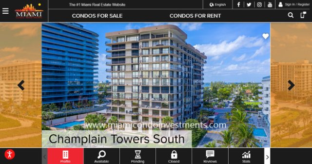Champlain Towers South condos, old marketing photo.