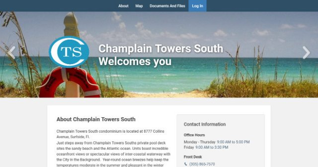 Champlain Towers South condos, website landing page.