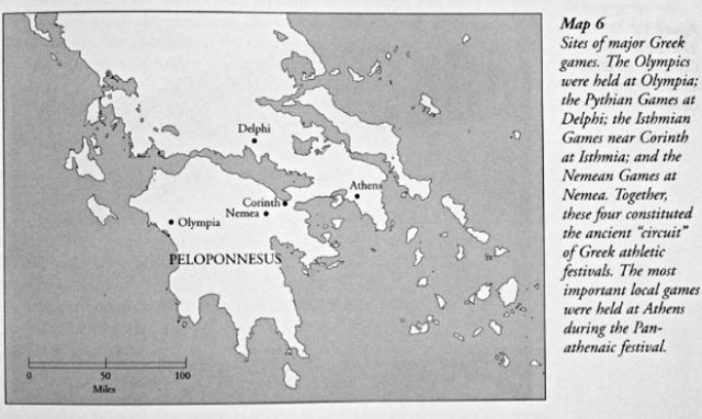 Locations for major ancient Greek games