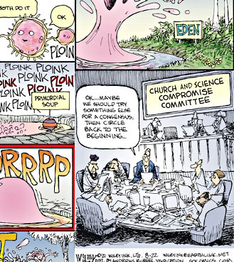 Wiley Miller's 'Non Sequitur' Sunday comic, featuring 'Church and Science Compromise Committee' lack of evolution consensus. (posted August 22, 2021)