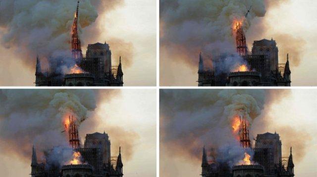 Notre Dame de Paris spire collapsed. (April 16, 2019)